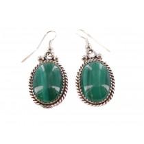 Malachite Oval Sterling Silver Dangle Earrings