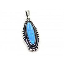 Ocean Opal Oblong Sterling Silver Pendant