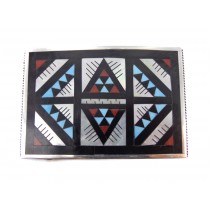 Zuni Inlay Sterling Silver Buckle