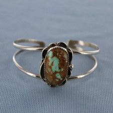 Embellished Royston Turquoise Sterling Silver Cuff   Bracelet