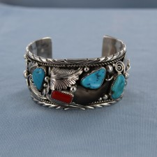 Genuine Bear Claw Kingman Turquoise and Red Coral Sterling Silver Cuff Bracelet
