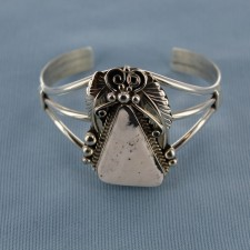 Triangular White Buffalo Turquoise Embellished Sterling Silver Cuff Bracelet