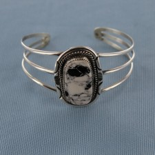 Oblong White Buffalo Turquoise Symetrically Hand Stamped Sterling Silver Cuff Bracelet