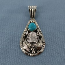 Decorated Bison Sterling Silver Pendant with Kingman Turquoise