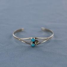 Sleeping Beauty 2 Stone Sterling Silver Cuff Bracelet