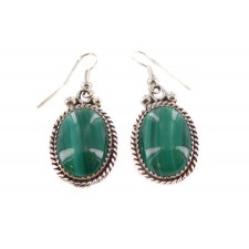 Malachite Oval Sterling Silver Dangle Earrings