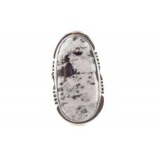 White Buffalo Turquoise Large Oblong Sterling Silver Ring