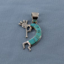 Sleeping Beauty Turquoise Inlay Sterling Silver Kokopelli Pendant