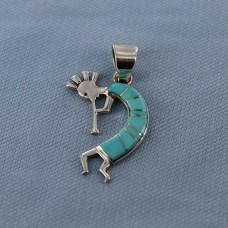Sleeping Beauty Turquoise Inlay Sterling Silver Kokopelli Pendant
