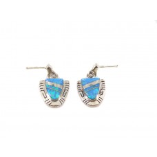 Ocean Opal Triangle Sterling Silver Stud Dangle Earrings