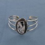Oblong White Buffalo Turquoise Hand Stamped Sterling Silver Cuff Bracelet