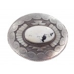 White Buffalo Turquoise Sterling Silver Buckle